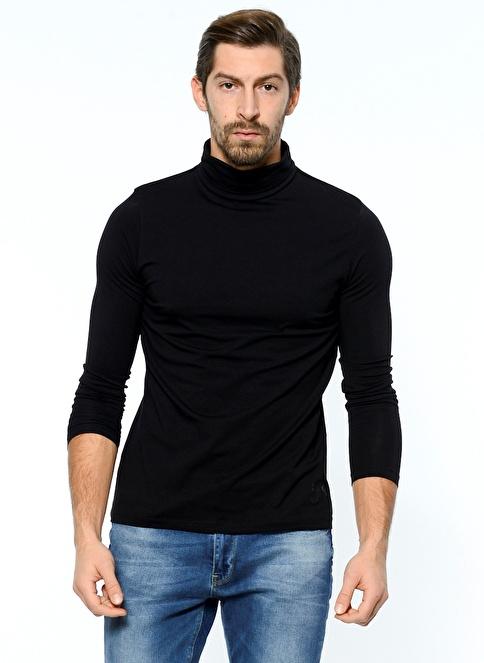 Grip Balıkçı Yaka Uzun Kollu Sweatshirt Siyah